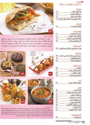فهرست مجله هنر آشپزی 84