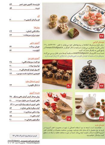 فهرست مجله هنر آشپزی 89