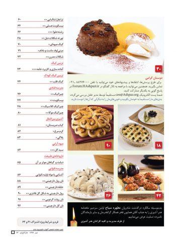 فهرست مجله هنر آشپزی 72