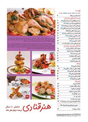 فهرست مجله هنر آشپزی 126