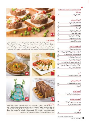 فهرست مجله هنر آشپزی 62